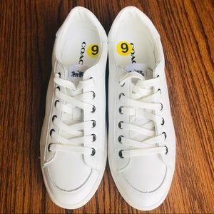 NWOT COACH Porter Leather Chalk White Sneakers